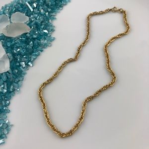 Vintage Unisex Gold Tone Braided Link Necklace